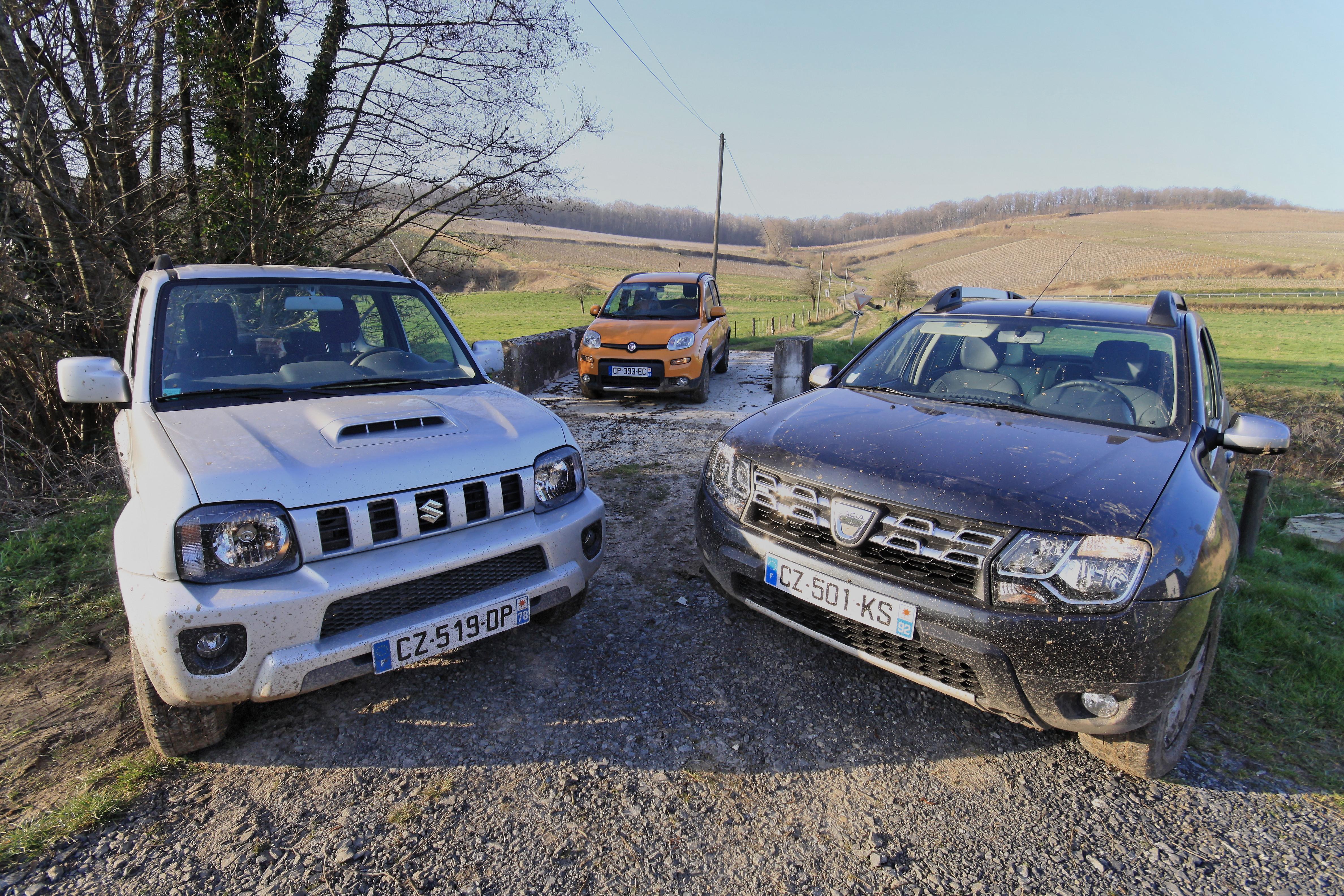 Comparatif 4×4 petit budget : Suzuki Jimny/Fiat Panda 4×4/ Dacia Duster 4×4