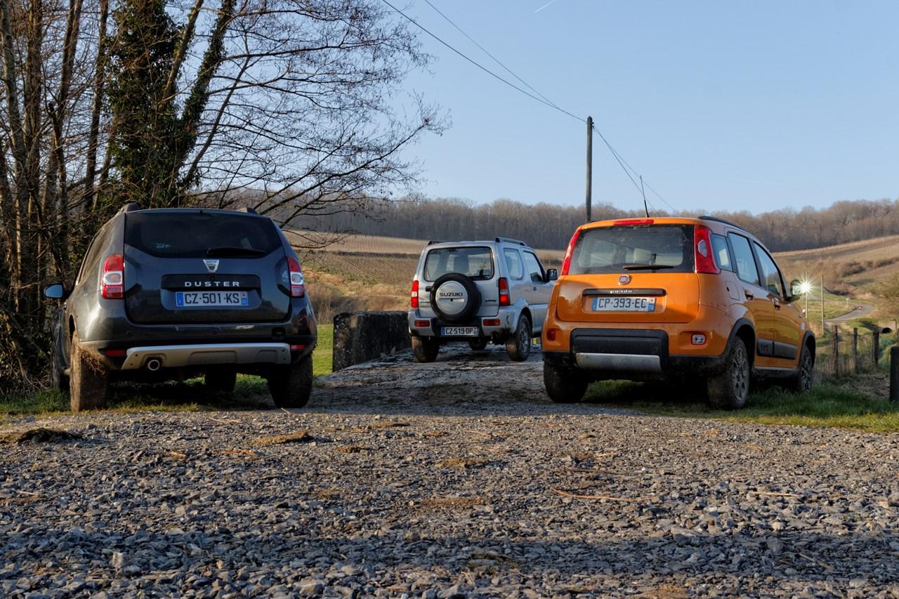 Comparatif 4×4 petit budget : Fiat Panda, Dacia Duster, Suzuki Jimny