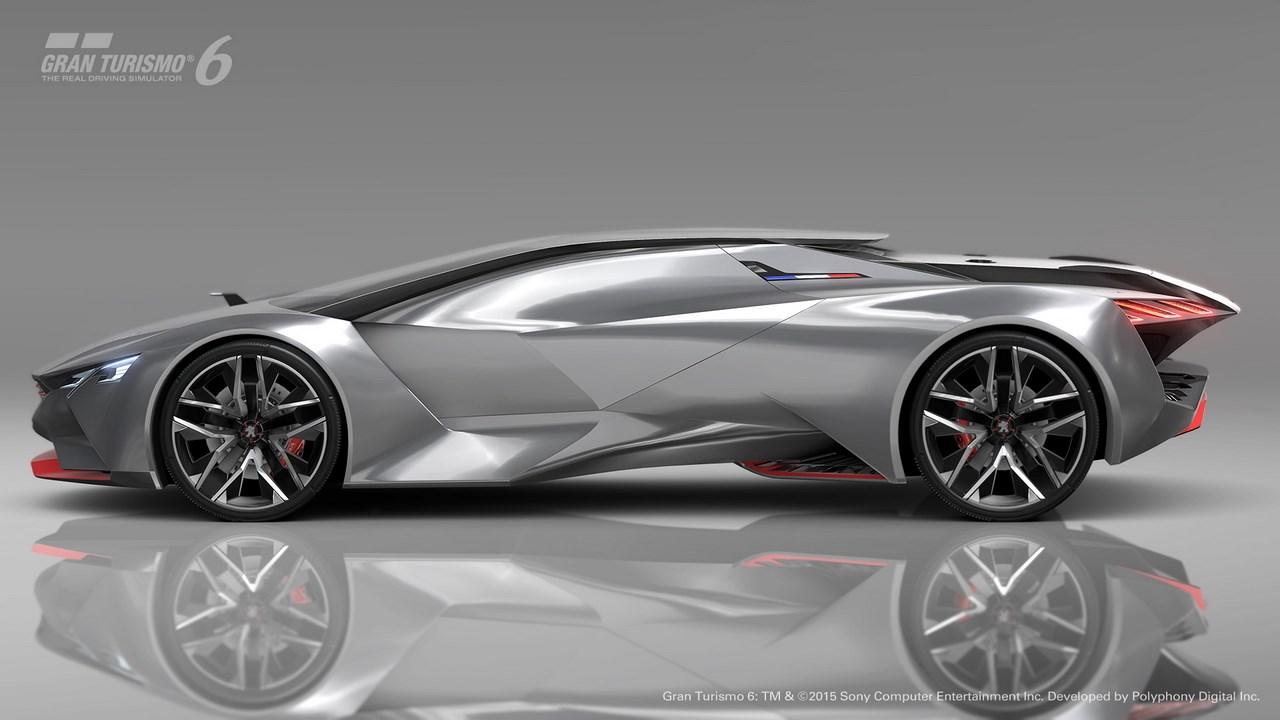 Peugeot Vision Gran Turismo : un 0 à 100 km/h en 1″73 seconde, plus vite que la Veyron.